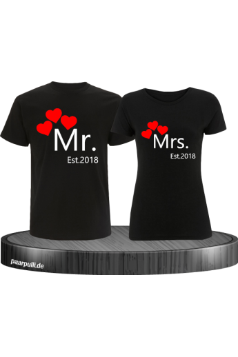 Mr. and Mrs. Partnerlook auf T-Shirts mit Wunschjahr