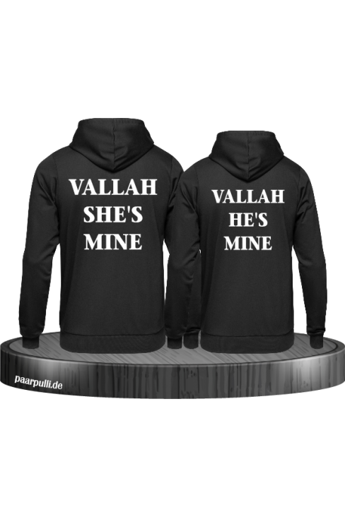 Vallah She's mine und He's mine Partnerlook schwarz