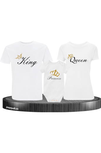 Familien Baby Shirt Set mit King Queen und Prince - Princess