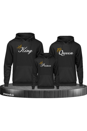 Bedrucktes Family Hoodies Set mit King Queen und Prince
