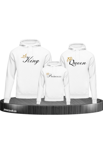 Bedrucktes Family Hoodies Set mit King Queen und Princess