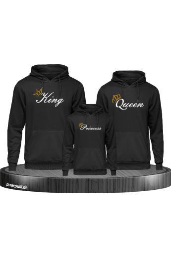 Family Hoodies mit King Queen und Princess in schwarz