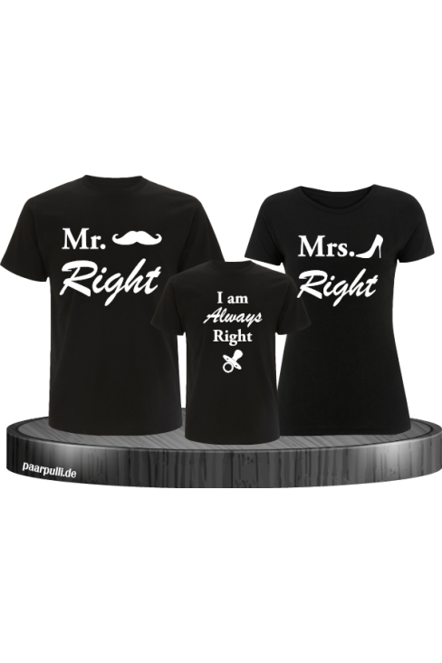 Mr right mrs right i am always set in schwarz