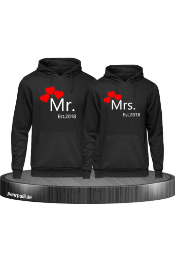 Mr and Mrs Hoodie Partnerlook mit Wunschjahr