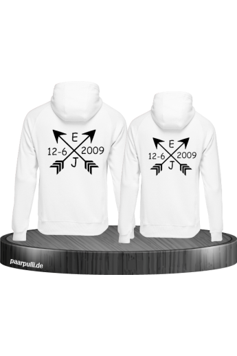 Partner Hoodie Set Arrows mit Initialen und Datum