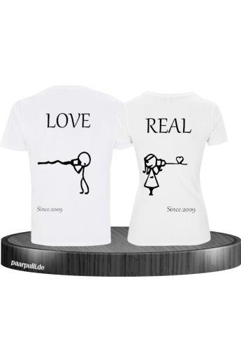 Partner T-Shirt Set bedruckt mit Real Love