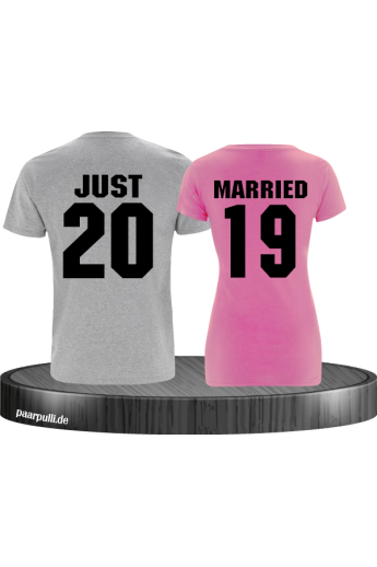 Just married Grau Pink couple t shirts