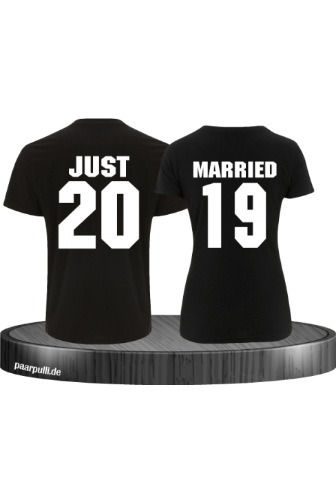Just married schwarz couple t shirts