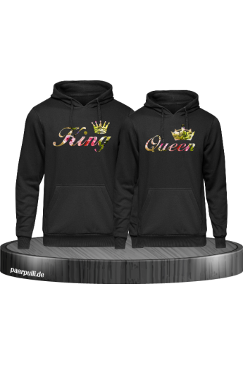 King & Queen Partner Hoodies Blumen Muster