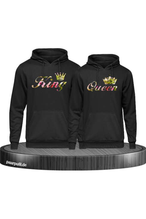 King Queen Partnerlook mit Blumenmuster