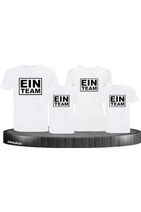 Ein Team familenlook set in weiß 4 shirts