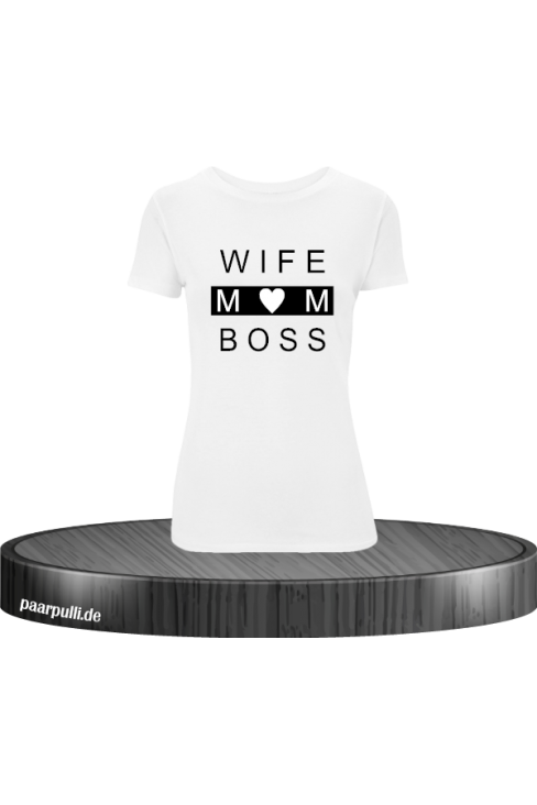 wife mom boss t shirts in weiß