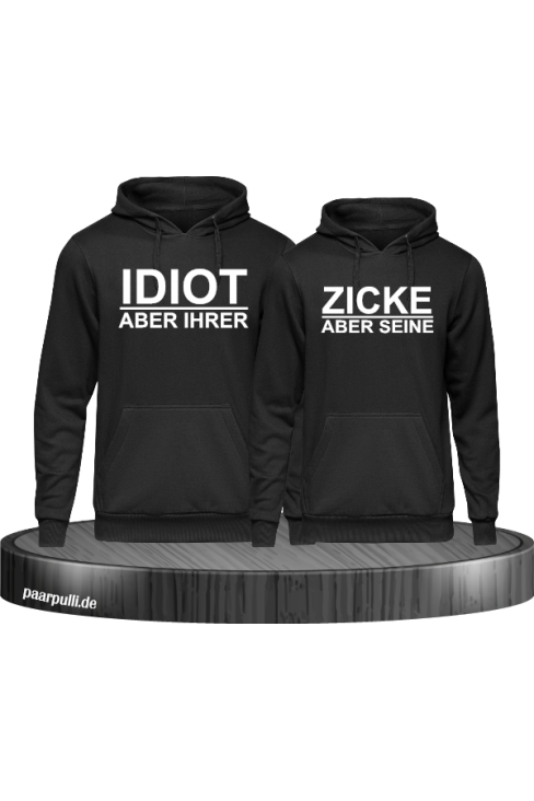 Idiot zicke schwarz hoodie couple set
