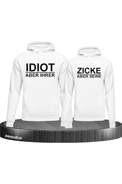 Idiot zicke weiß hoodie couple set