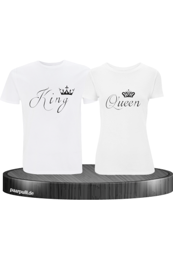 Partner-Shirt King und Queen in weiß
