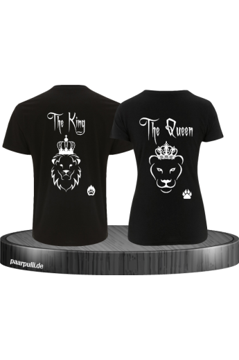 King Queen Partnerlook T-Shirt Set Löwe
