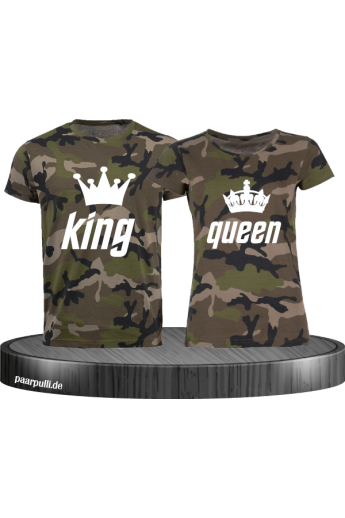 King Queen Camouflage Partnerlook Shirts
