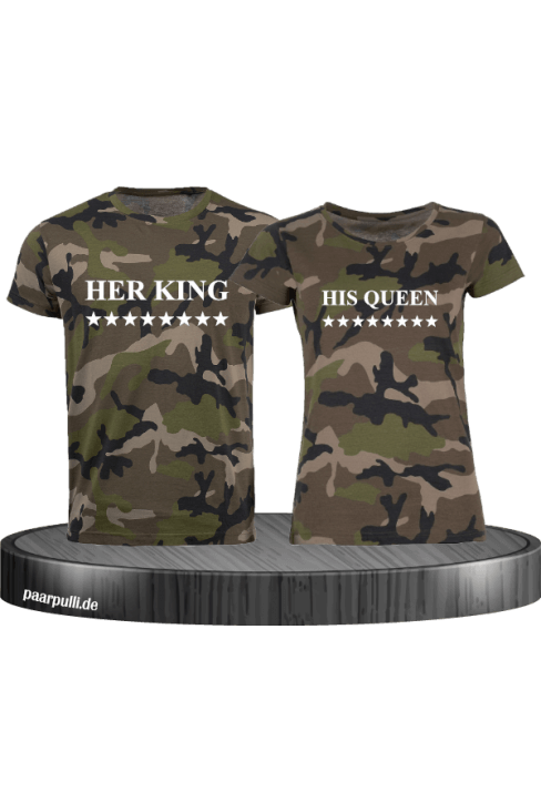 Camouflage Partner T Shirts mit Her King und His Queen