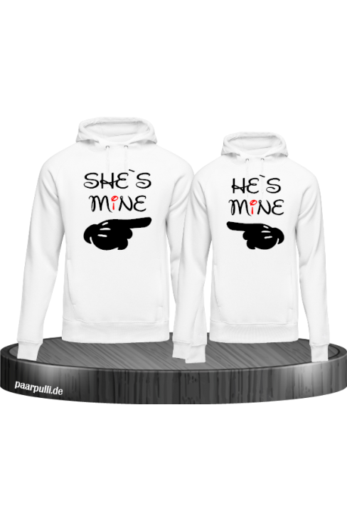 Shes Mine Hes Mine Partnerlook Hoodies in weiß