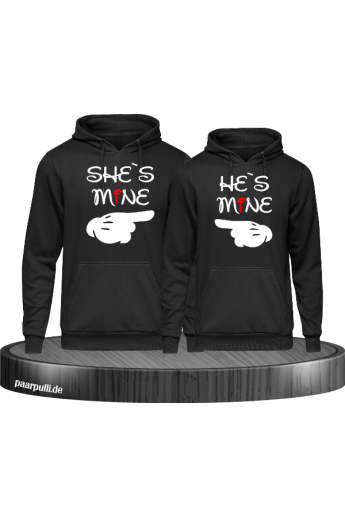 Shes Mine Hes Mine Partnerlook Hoodies in schwarz