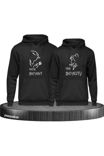 Her beast His beauty hoodie set schwarz