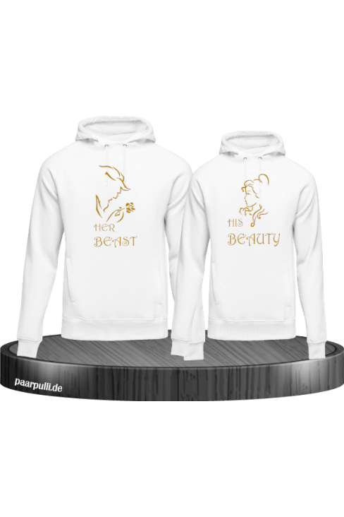 Her beast His beauty hoodie set weiß