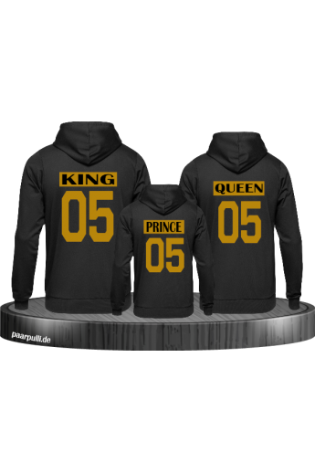 King Queen 3er Set Familienlook Pullover