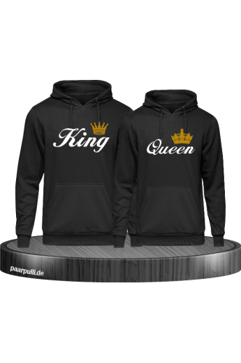King and Queen Partnerlook Kapuzenpullover in schwarz