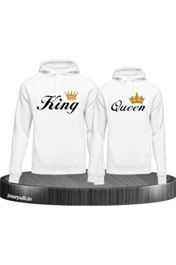 King and Queen Partnerlook Kapuzenpullover in WEiss