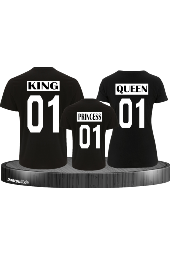 King Queen Princess Familienlook Tshirts