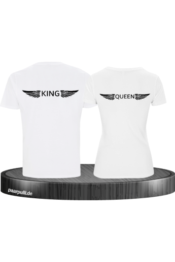 King & Queen mit Engelsflügel Partnerlook T-Shirts