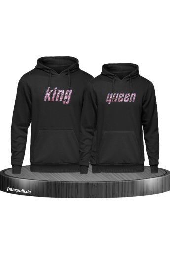 King und Queen Partner Pullover Blumenmuster Set
