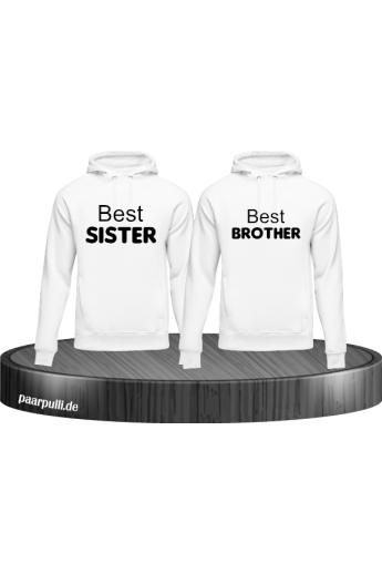 Best Sister und Best Brother Hoodies in weiß