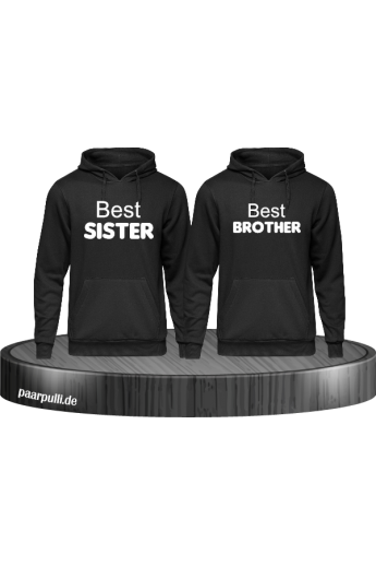Best Sister und Best Brother Hoodies in schwarz