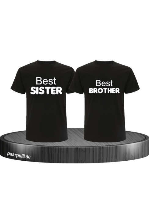 Best Sister und Best Brother T-Shirts in schwarz