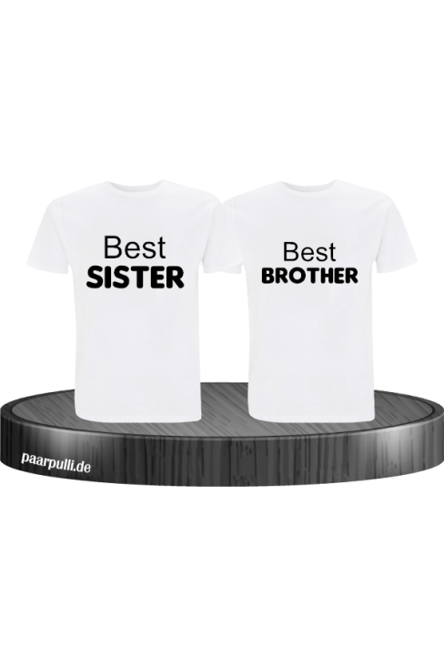 Best Sister und Best Brother T-Shirts in weiß