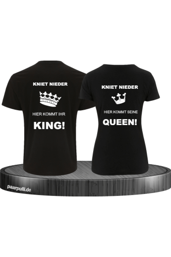 Partnerlook T-Shirts mit King und Queen - KNIET NIEDER
