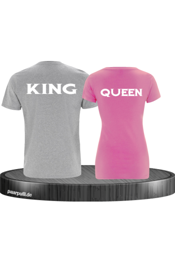 Partner-Shirt King&Queen in Grau&Rosa
