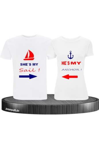 Partner t-shirts bedruckt mit shes/hes my sail