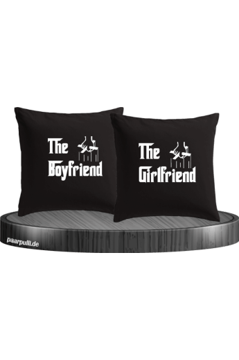 The Boyfriend und The Girlfriend als Kissenbezüge in schwarz
