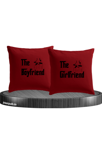 The Boyfriend und The Girlfriend als Kissenbezüge in rot