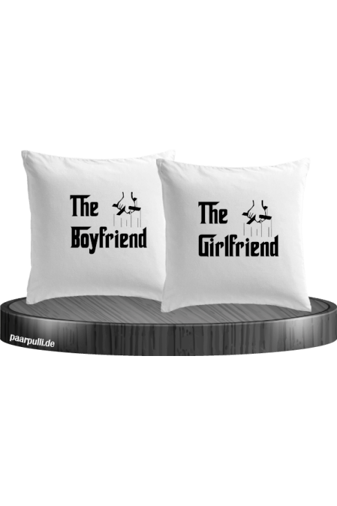 The Boyfriend und The Girlfriend als Kissenbezüge in weiß