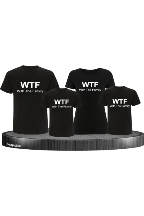 Familienlook in schwarz mit WTF With the Family als 4er Set T-Shirts