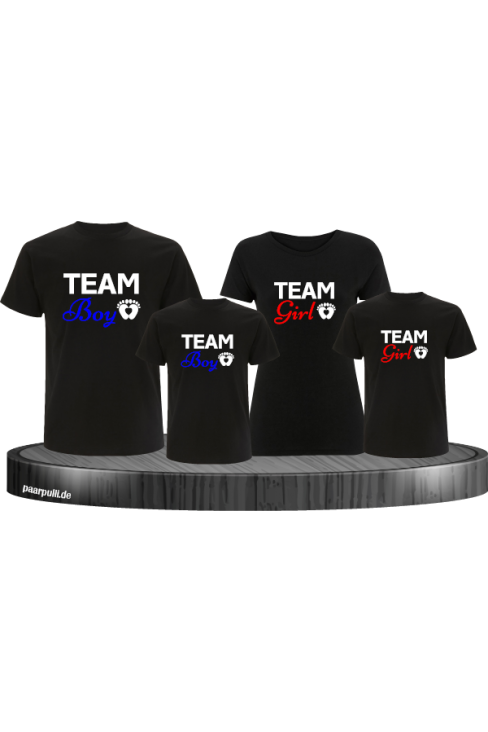 Team Boy und Team Girl Familienlook T-Shirts in schwarz