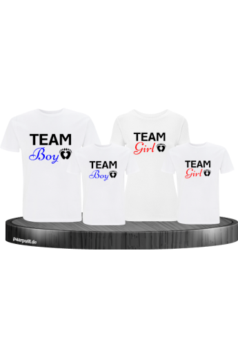 """Team Boy"" und ""Team Girl"" Familien-Set T-Shirts"