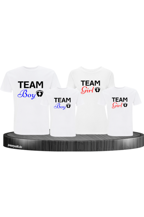 Team Boy und Team Girl Familienlook T-Shirts in weiß