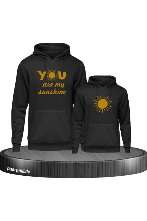 You are my sunshine partnerlook mutter und kind hoodies in schwarz gold