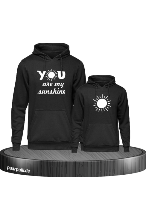 You are my sunshine partnerlook mutter und kind hoodies in schwarz weiß