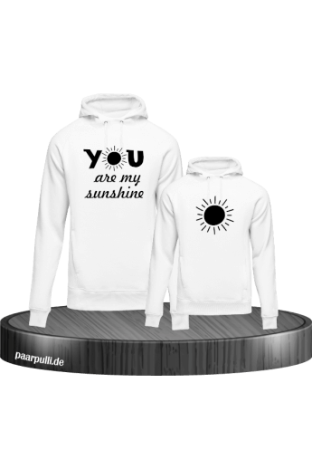 You are my sunshine partnerlook mutter und kind hoodies in weiß schwarz
