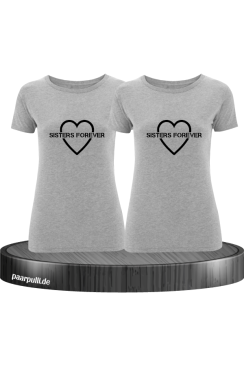 Sisters Forever T-shirts in grau mit schwarze Folie
